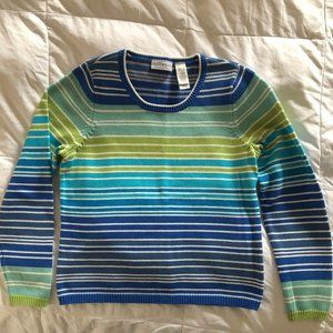 Long Sleeve Crew Neck Striped Sweater, Size Large